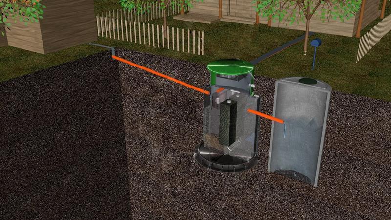 Иллюстрация отвода воды с септика в дренажный колодец из бетона