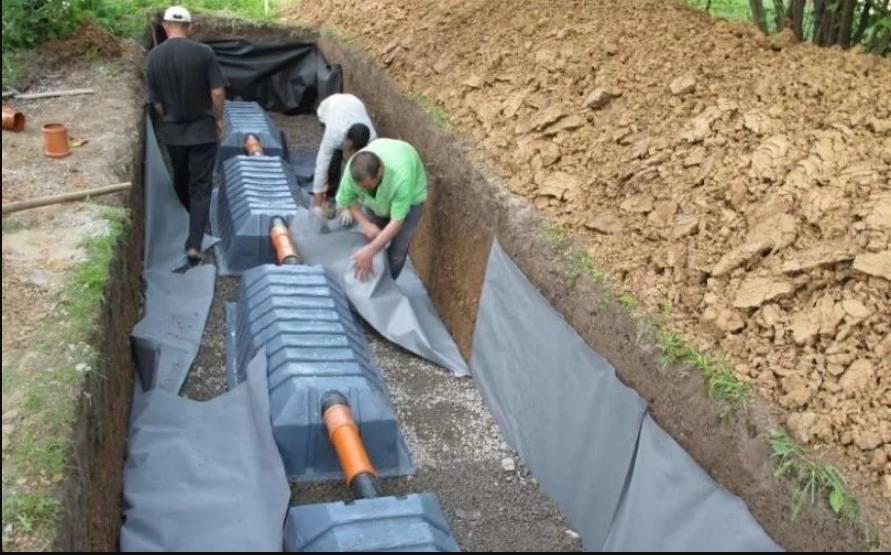 Установка дренажных тоннелей